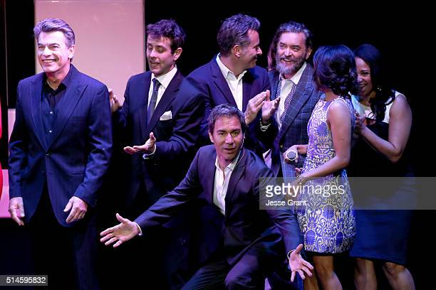 Actor Peter Gallagher singer Joey McIntyre and actors Steven Weber Eric McCormack Timothy Omundson Karen David and Tracie Thoms peform onstage during...