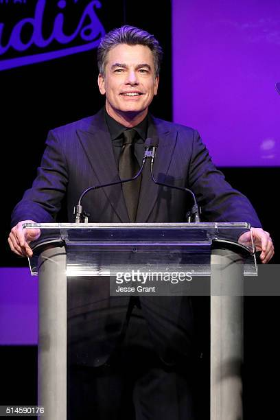 Actor Peter Gallagher speaks onstage during the 24th and final A Night at Sardi's to benefit the Alzheimer's Association at The Beverly Hilton Hotel...