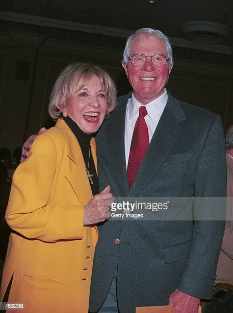 Actor Peter Graves and actress Beverly Garland pose at the Pacific Pioneer Broadcasters Awards Luncheon honoring Beverly Garland January 19 2001 in...