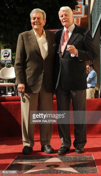 Actor Peter Graves with fellow actor and friend Mike Connors after Graves was honored with a star on the Hollywood Walk of Fame in Hollywood on...