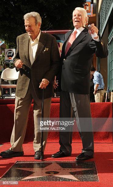 Actor Peter Graves with fellow actor and friend Mike Connors after Graves was honoured with a star on the Hollywood Walk Of Fame in Hollywood on...
