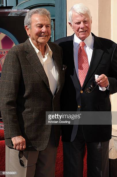 Actor Peter Graves with fellow actor and friend Mike Connors is honoured on the Hollywood Walk Of Fame on October 30 2009 in Hollywood California