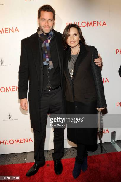 Actor Peter Hermann and actress Mariska Hargitay attend the premiere of Philomena hosted by The Weinstein Company at the Paris Theater on November 12...