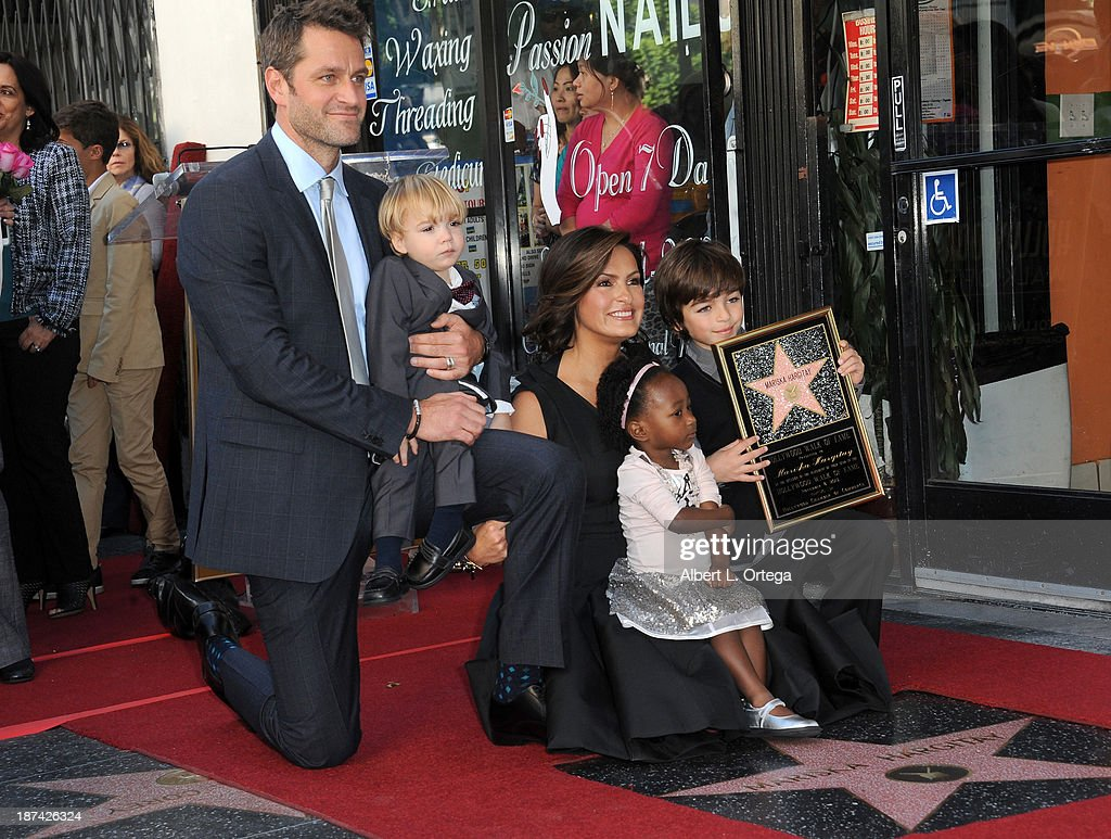 Actor Peter Hermann, son Andrew, daughter Amaya, actress Mariska Hargitay and son August attend Mariska Hargitay's Star ceremony on The Hollywood Walk of Fame held on November 8, 2013 in Hollywood, California.