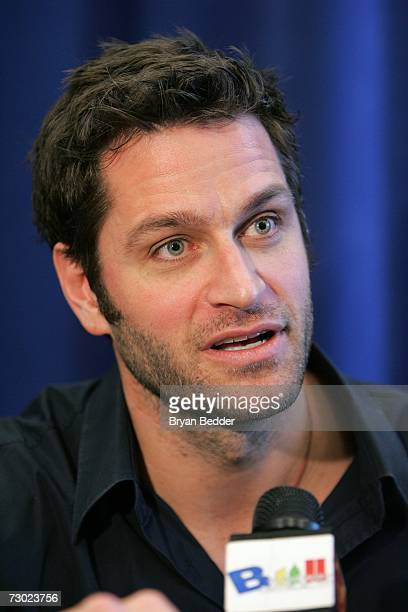 Actor Peter Hermann talks with a reporter before a rehearsal for Broadways Talk Radio on January 17 2007 in New York City