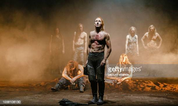 Actor Peter Jordan and members of the cast perform on stage during a photo rehearsal of Wagner's Ring Cycle 'Rhinegold and Valkyrie' in Hamburg...