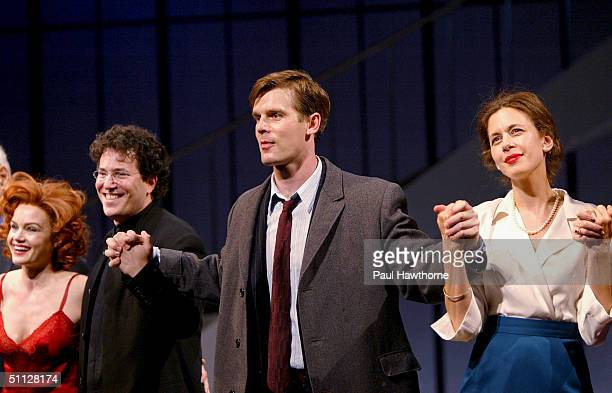 Actor Peter Krause is joined by actress Carla Gugino, director Michael Mayer and actress Jessica Hecht during the curtain call for opening night of...