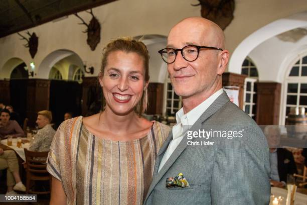 Actor Peter Lohmeyer and Leonie Seifert attends the premiere celebration of 'Jedermann' during the Salzburg Festival 2018 at Salzburg Cathedral on...