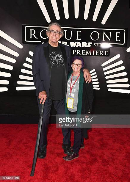 Actor Peter Mayhew and Angie Mayhew attend The World Premiere of Lucasfilm's highly anticipated firstever standalone Star Wars adventure Rogue One A...