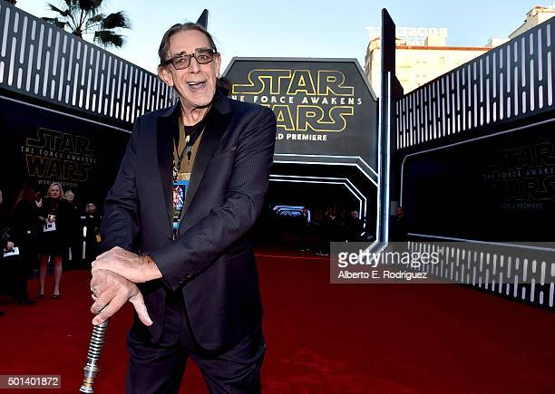 """Actor Peter Mayhew attends the World Premiere of """"Star Wars: The Force Awakens"""" at the Dolby, El Capitan, and TCL Theatres on December 14, 2015 in..."""