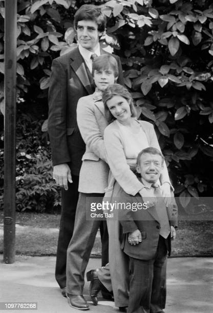 Actor Peter Mayhew, Mark Hamill, Carrie Fisher , Kenny Baker , co-stars in the first Star Wars trilogy, UK, 20th May 1980.