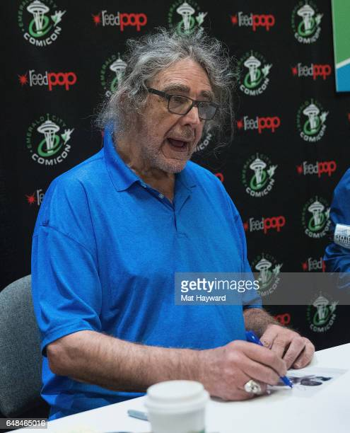 Actor Peter Mayhew signs autographs during Emerald City Comicon at Washington State Convention Center on March 5 2017 in Seattle Washington
