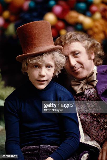 Actor Peter Ostrum and Gene Wilder on the set of 'Willy Wonka the Chocolate Factory'
