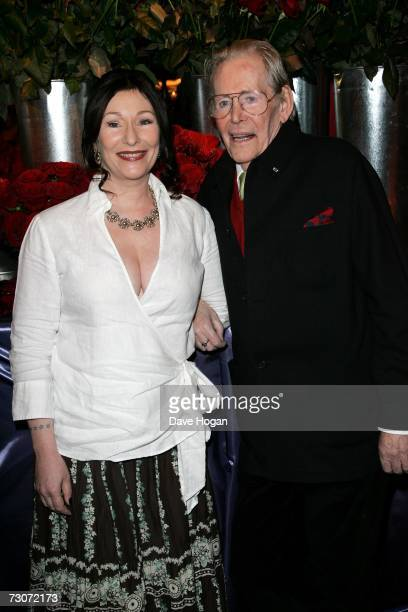 "Actor Peter O'Toole and daughter Kate O'Toole attend a drinks reception prior to the gala screening of ""Venus"" at Bluebird restaurant on January 22,..."