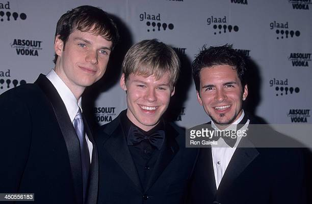 Actor Peter Paige actor Randy Harrison and actor Hal Sparks attend the 12th Annual GLAAD Media Awards on April 28 2001 at the Century Plaza Hotel in...