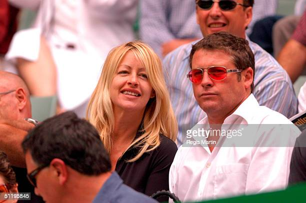 Actor Peter Phelps and pregnant partner Donna Fowkes at the Rod Laver Arena for the sixth day of The Australian Tennis Open in Melbourne Victoria...