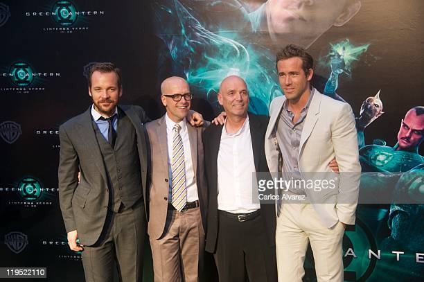 Actor Peter Sarsgaard producer Donald de Line director Martin Campbell and Ryan Reynolds attend Green Lantern premiere at the Capitol cinema on July...