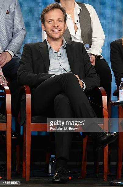 Actor Peter Sarsgaard speaks onstage during the 'The Slap' panel discussion at the NBC/Universal portion of the 2015 Winter TCA Tour at the Langham...