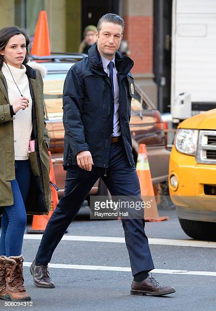 Actor Peter Scanavino is seen on the set of Law Order Special Victims Unit in Soho on January 21 2016 in New York City
