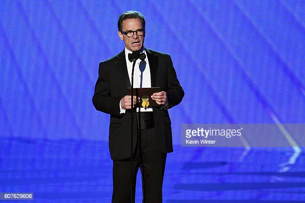 Actor Peter Scolari speaks onstage during the 68th Annual Primetime Emmy Awards at Microsoft Theater on September 18, 2016 in Los Angeles, California.
