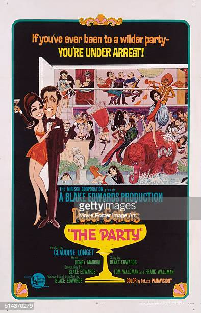 Actor Peter Sellers appears in caricature form on a poster for the movie 'The Party' written and directed by Blake Edwards 1968