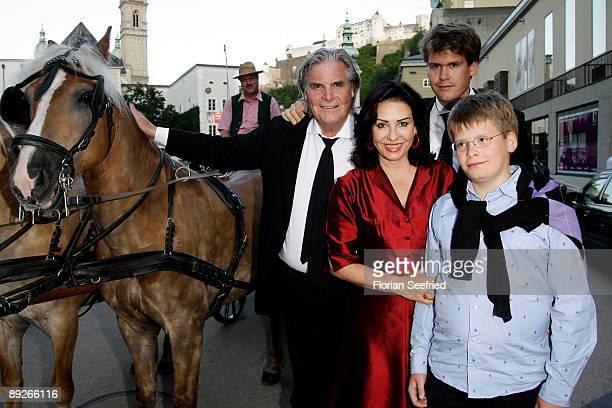 Actor Peter Simonischek, Brigitte Karnar and Benedikt Simonischekand Kaspar Simonischek leave the premiere of 'Everyman' during the Salzburg Festival...