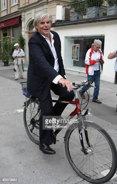 Actor Peter Simonischek, the 'Everyman' of 'Jedermann' 'Everyman' rides a bicycle after a photocall on July 26, 2008 in Salzburg, Austria. The...