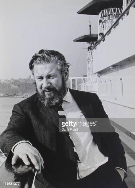 Actor Peter Ustinov on board of the Andrea Doria on November 1,1963 in New York, New York.