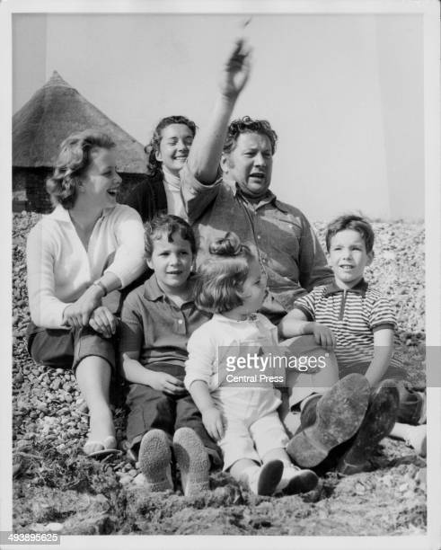 Actor Peter Ustinov with his family; his wife Suzanne and children Tamara, Pavla, Andrea Claudia and Igor, at the seaside in Clymping, Surrey, August...