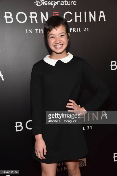 Actor Peyton Elizabeth Lee attends the Los Angeles premiere of Disneynature's BORN IN CHINA at the Billy Wilder Theater at The Hammer Museum in...