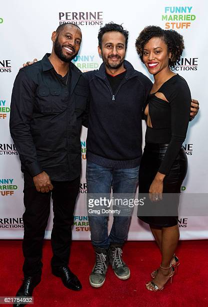 Actor Peyton Perrine Director Shah Rahman and Actress Lony'e Perrine arrive for the Screening Of Perrine Productions' 'Funny Married Stuff' at the...