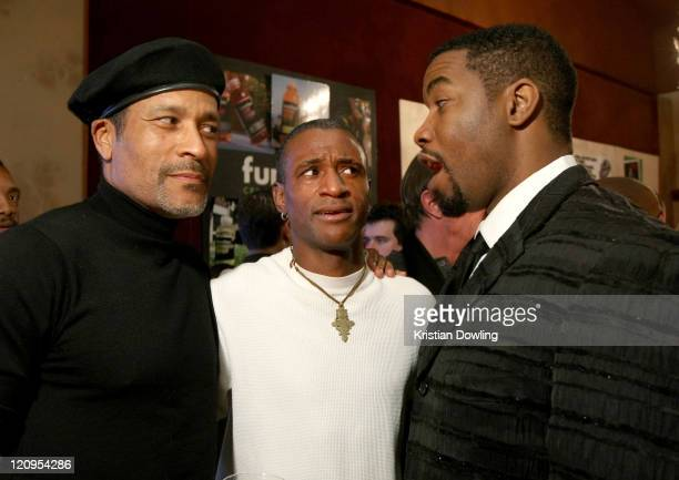 Actor Phil Morris actor Tommy Davidson and actor Michael Jai White attend the Black Dynamite Party at the Film Lounge Media Center on January 19 2009...