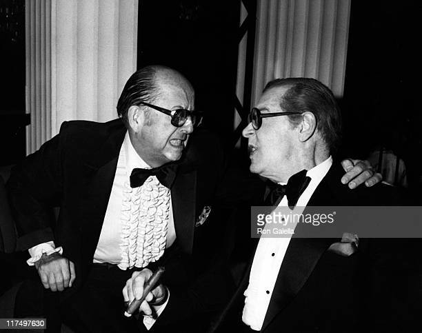 Actor Phil Silvers and Milton Berle attend Love Boat Honors Helen Hayes Gala on February 22 1980 at the Beverly Hills Hotel in Beverly Hills...