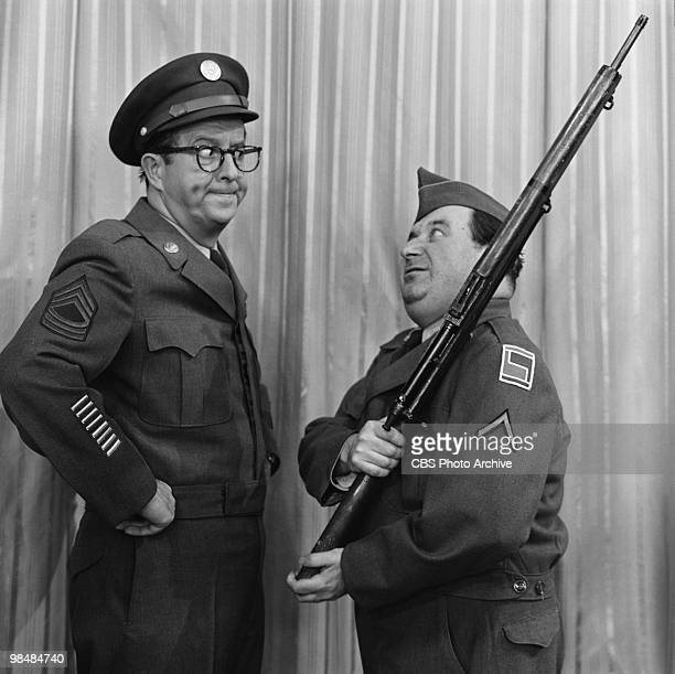 Actor Phil Silvers as MSgt Ernest G 'Ernie' Bilko and Maurice Gosfield as Pvt Duane Doberman on 'The Phil Silvers Show' on January 12 1956 in New...