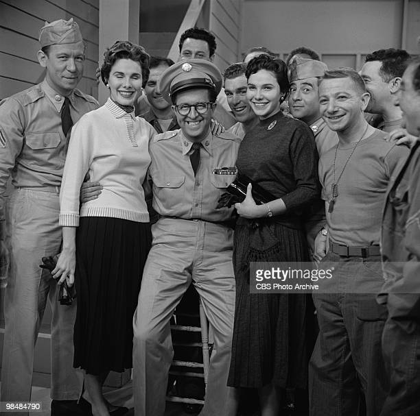 Actor Phil Silvers as MSgt Ernest G 'Ernie' Bilko with general cast on 'The Phil Silvers Show' in March 2 1956 in New York City New York