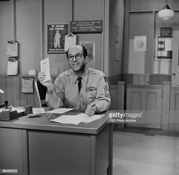 Actor Phil Silvers as Sgt Ernest G 'Ernie' Bilko on 'The Phil Silvers Show' on December 16 1955 in New York City New York