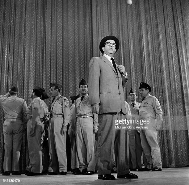 Actor Phil Silvers performs on the 'Toast of the Town' show hosted by Ed Sullivan at the Maxine Elliott Theater in New York New York