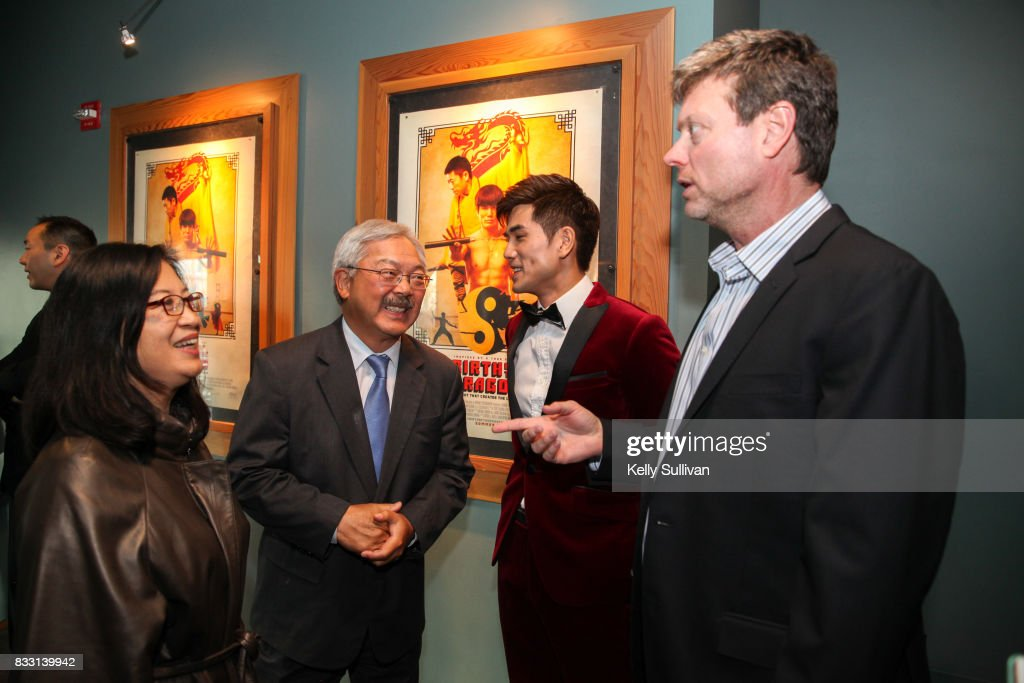 Actor Philip Ng (center R) and director George Nolfi (R) meet with San Francisco Mayor Ed Lee (center L) at a special screening of BH Tilt & WWE Studios' 'Birth of the Dragon' at the AMC Dine-In Kabuki 8 theater on August 16, 2017 in San Francisco, California.