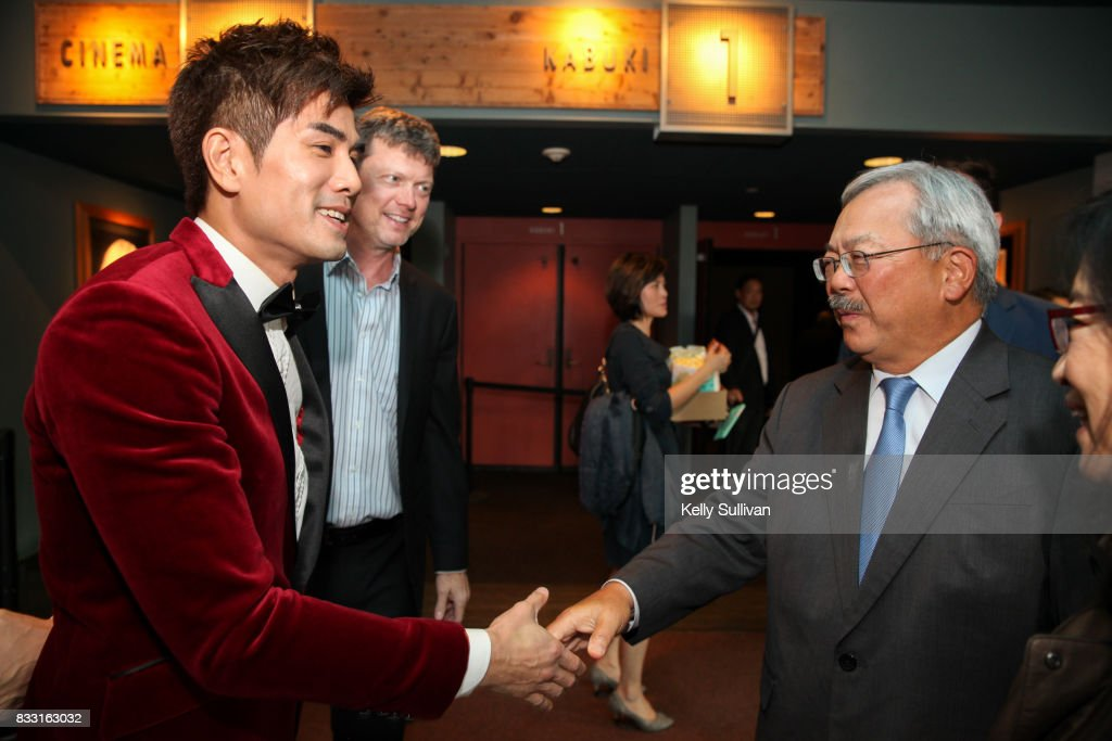 Actor Philip Ng (L) meets San Francisco Mayor Ed Lee (R) at a special screening of BH Tilt & WWE Studios' 'Birth of the Dragon' at the AMC Dine-In Kabuki 8 theater on August 16, 2017 in San Francisco, California.