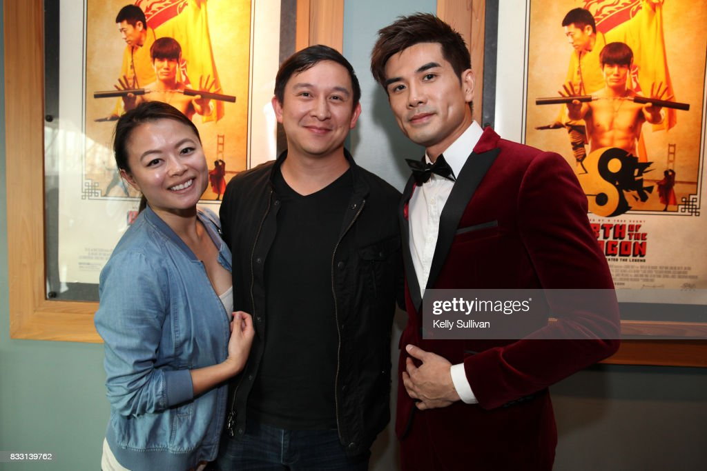 Actor Philip Ng (R) poses for a photo with Bay Area fans at a special screening of BH Tilt & WWE Studios' 'Birth of the Dragon' at the AMC Dine-In Kabuki 8 theater on August 16, 2017 in San Francisco, California.