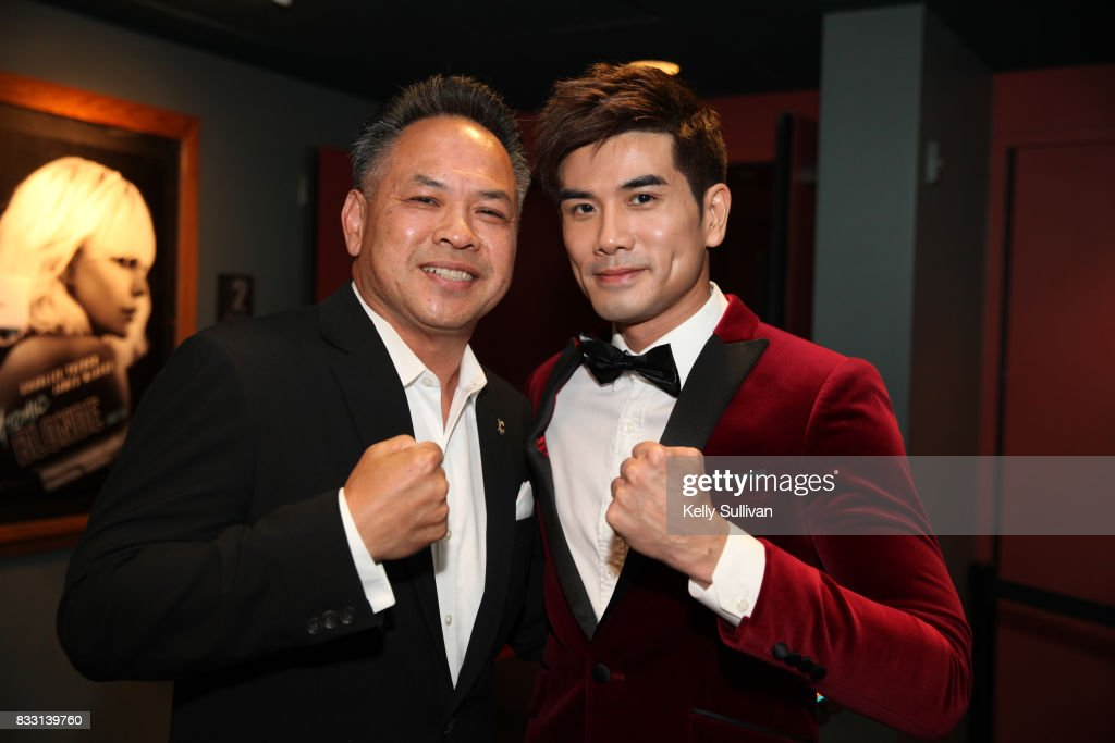 Actor Philip Ng (R) poses for a photo with Henry Chu (L) at a special screening of BH Tilt & WWE Studios' 'Birth of the Dragon' at the AMC Dine-In Kabuki 8 theater on August 16, 2017 in San Francisco, California.