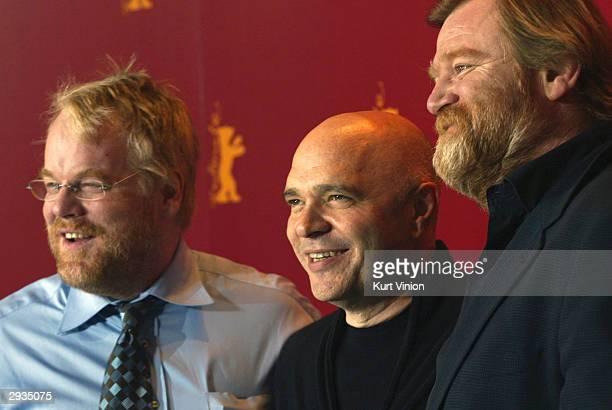 Actor Philip Seymour Hoffman director Anthony Minghella and actor Brendan Gleeson attend a photo call at the 54th annual Berlinale International Film...