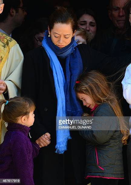 US actor Philip Seymour Hoffman's estranged partner Mimi O'Donnell with daughters Willa Hoffman and Tallulah Hoffman watch his casket leaving at the...
