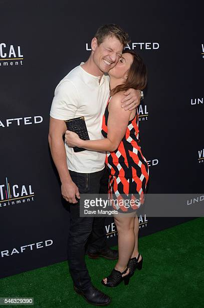 Actor Philip Winchester and Megan Coughlin attend the premiere of Vertical Entertainment's Undrafted at ArcLight Hollywood on July 11 2016 in...