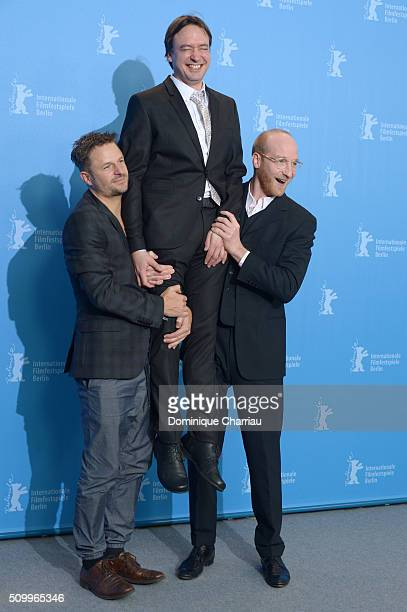 Actor Philipp Hochmair, director Haendl Klaus and actor Lukas Turtur attend the 'Tomcat' photo call during the 66th Berlinale International Film...