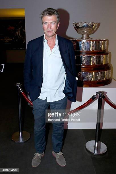 Actor Philippe Caroit poses near the Davis Cup before the Final match during day 7 of the BNP Paribas Masters Held at Palais Omnisports de Bercy on...