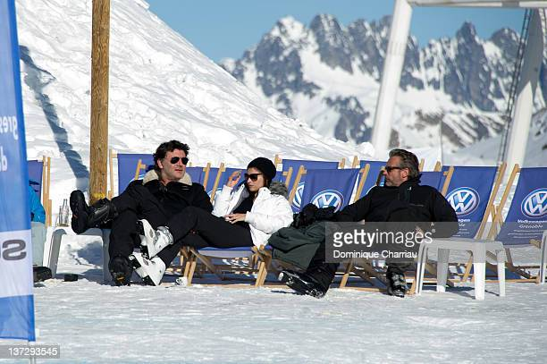 Actor Philippe Lellouche actress Vanessa Demouy and actor David Brecourt sighting at the 15th L'Alpe D'Huez International Comedy Film Festival on...