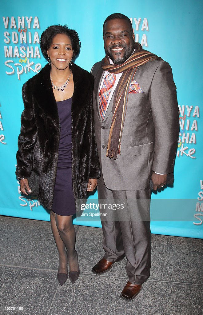 Actor Phillip Boykin (R) and wife Felicia Richardson Boykin attend the 'Vanya And Sonia And Masha And Spike' Broadway opening night at The Golden Theatre on March 14, 2013 in New York City.