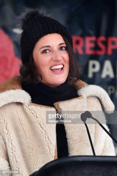 Actor Phoebe WallerBridge speaks onstage at the Respect Rally in Park City on January 20th 2018 in Park City Utah