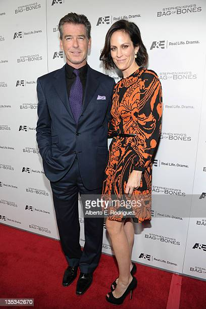 Actor Pierce Brosnan and actress Annabeth Gish attend AE's premiere party event for Stephen King's Bag of Bones at Fig Olive Melrose Place on...